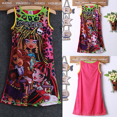 Baby Girls Party Dress Monster Print Summer Sleeveness Casual Sundress 4 To 14Y Cute<br><br>Aliexpress