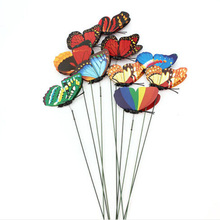 hot sale Wholesale 10Pcs Colorful Butterfly On Sticks Garden Vase Lawn Craft Art Decoration New Arrivals