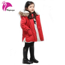 New Brand 2016 Winter Girls Coats Fashion Fur Hooded Warm Girl Solid Red Thick Cashmere Jacket Down & Parkas Children's Clothing