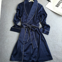 yomrzl A296 New arrival spring and autumn luxurious robe faux silk one piece sleep clothes long sleeve indoor clothes