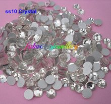 Free Shipping! 1440pcs/Lot, ss10 (2.7-2.9mm) Crystal/Clear Flat Back Nail Art Non Hotfix Rhinestones(China)