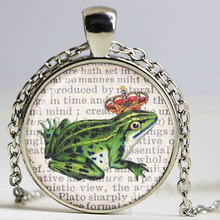 Art glass caboshon pendant frog prince on a dictionary page background diy fashion jewelry