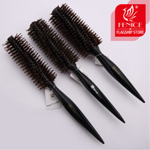 Roll round comb bristle pig mane wood handle Brown bristles For curly hair Round bristles tips twill(China)