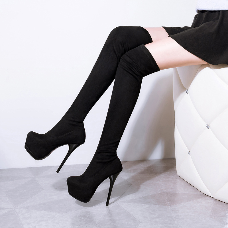 2016New over the knee high boots stiletto platform with Martin sexy stretch skinny leg<br>