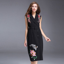 Female Tank Dresses Women Uk Style 2017 Early Autumn Fashion Black Embroidery Turn-down Collar Elegant Classic Dress With Belt