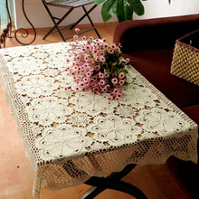 LINKWELL 1pc 100% Cotton Handcraft Crocheted Tablecloths Shabby Chic 80x120cm Vintage Crochet Floral Design Handmade Table Cloth