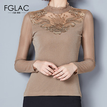 Buy FGLAC Women blouse shirt New Arrivals 2017 Autumn Mesh tops Elegant Slim Hollow Lace tops Plus size Diamond women shirts for $12.37 in AliExpress store