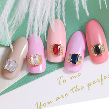 New 5pcs luxury metal base plus high shining zircon rhinestones nail art ring decoraton top level alloy nail jewelry nail charms