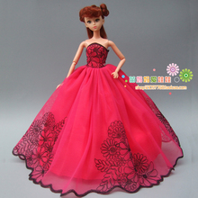 Quality Embroidery gown wedding dress for Barbie doll princess bride dress