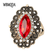 Kinel Bohemia Red crystal Ring Plating Ancient Gold Vintage Jewelry Wholesale Christmas Gift