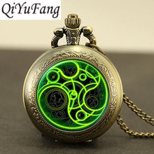 Steampunk UK drama doctor dr who tardis time vintage new Necklace 1pcs/lot bronze silver Pendant jewelry pocket watch chain mens(China)