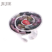 JUJIE Nature Stone Rings For Women 2016 Vintage Multicolor Ring Men Fashion Round Wedding Gold Color Rings For Mann Gifts Girl