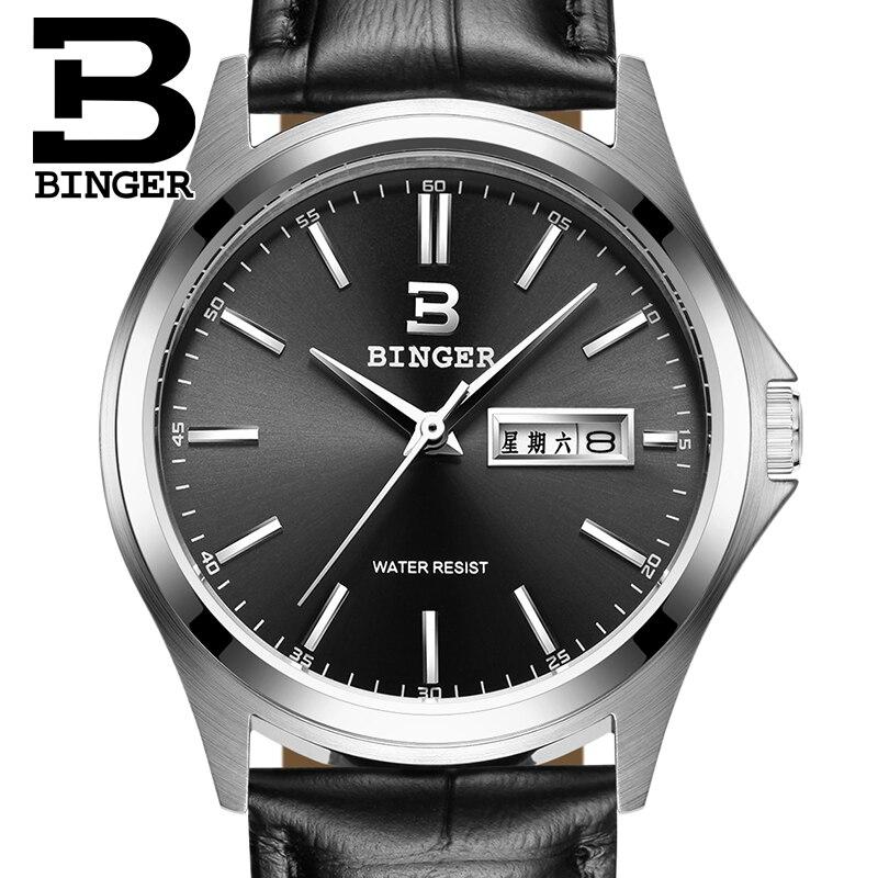 2017 Switzerland luxury mens watch BINGER brand quartz full stainless clock Waterproof Complete Calendar Guarantee B3052B6<br>