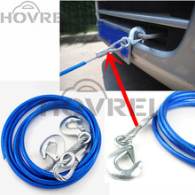 5 Ton 4m Car Vehicle Steel Wire Tow Rope Towing Pull Strap Rope With Hook Heavy Duty Car Towing Rope(China)