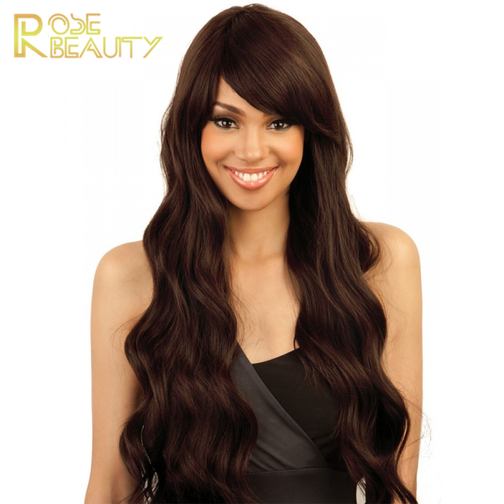 Celebrity style Synthetic wigs body wave Hair Wig jet black color with side bangs pelucas black women full wigs<br><br>Aliexpress