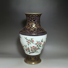 Qing Dynasty  Pastel blue outline in gold flower Fruit bottle elaborately hand-work crafts home decoration  collection