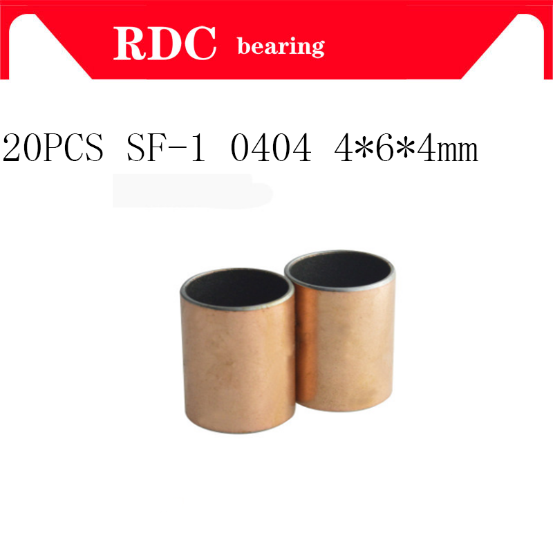 Free shipping 20pcs New SF-1 0404 High quality Self Lubricating Composite Bearing Bushing Sleeve 6*4*4mm