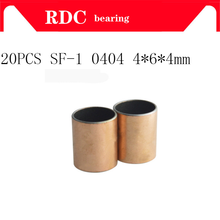 Buy Free shipping 20pcs New SF-1 0404 High quality Self Lubricating Composite Bearing Bushing Sleeve 6*4*4mm