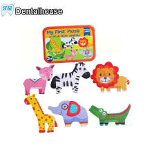 Dentalhouse Baby Wooden Toys Wooden Puzzles Jigsaw puzzle Animal /Traffic /Ocean fish/ 6pcs in a box Educational table game gift(China)