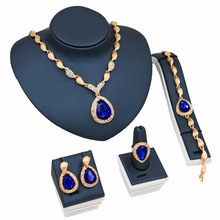 Necklace Ring Bracelet Earrings Fine Jewelry Sets For Women Bridal blue red Crystal Wedding Dress Accessories Set
