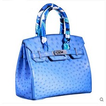 heimanba Ostrich skin ladies handbag electric light blue ladies bag leather ostrich skin women handbag(China)