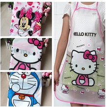 (10 pcs/Lot) Lovely Waterproof PE Quality Hello Kitty Mickey Cartoon Women Lay Girl's Aprons