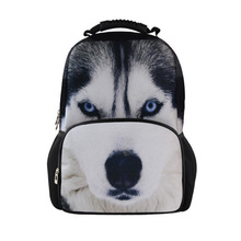 Mochila Escolar Husky Dog Animal Backpack Zoo Cat Children School Backpack For Teenagers Boys Kids Rucksack Men Travel Backpack(China)