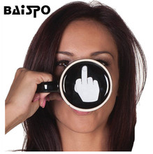 Creative Have a Nice Day Ceramic Coffee Cup Funny Middle Finger Cups And Mugs For Coffee Tea Milk Novelty Gifts 350ml Transhome(China)