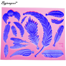 Byjunyeor M419 New Feather 3d silicone mold,fondant cake accessory,cake decorating tools,cupcake dessert decor 12.5*10.4*0.8CM(China)
