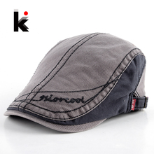 2017 Men's Cotton Berets Caps For Men Newsboy Cap Peaked Hat Flat Cap Boinas Hats For Men Retro Beret Visors Boina 4 Colors(China)