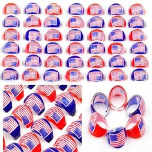 Wholesale Jewelry Store 50pcs Resin Lucite Cartoon USA National Flag Children Kids Ring Party Souvenir Gift Cheap Free Shipping(China)