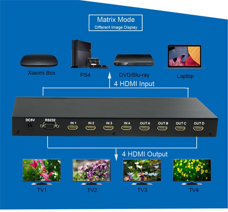 EMK 4x4 HDMI True Matrix 4 input 4 output HDMI Switch Splitter 1.3b support 1920x1080 60Hz with RS232 Remote Control Switch (5)
