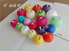 Multi Colors Option 3inch 7.5cm Chinese Small Rice Paper Lantern Ball Hanging Round Lampion Wedding Party Decorations