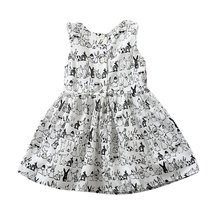 Pro Baby Girl Sleeveless Cartoon Dress Infant White Bunny Rabbit Print Ball Gown Tutu Dress Casual Kids Easter Clothes LL7(China)