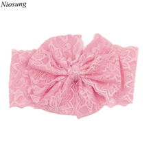 Niosung New Baby Girls Lace Big Bow Headbands Flower Cloth Head Wrap infants Hair Accessories(China)