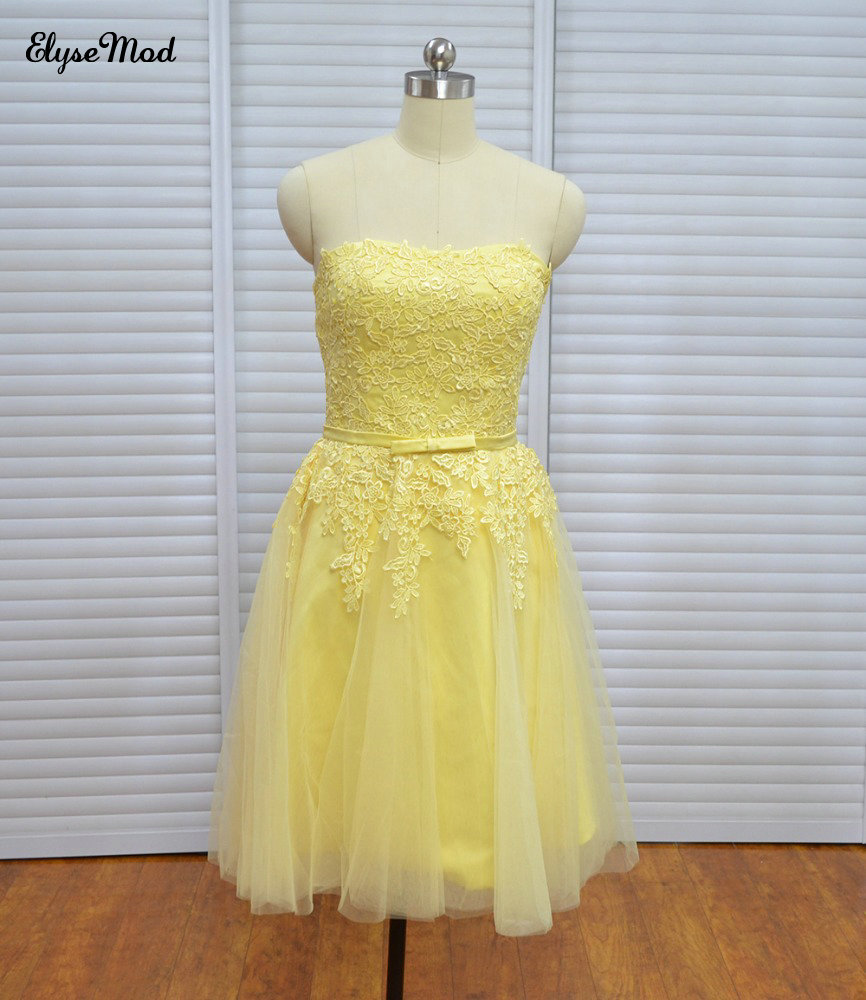 Real-Photo-Vinoprom-Yellow-Knee-Length-A