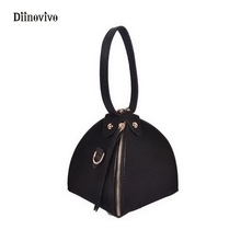 DIINOVIVO New Trendy Youth Leather Handbags Female Solid Triangle Clutch Bag Rock Style Rivet Women Small Shoulder Bags WHDV0286(China)