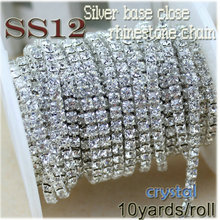QIAO New Deals Crystal Rhinestone DIY Beauty SS12 10yards/roll 3mm fashion accessories clear close rhinestone cup chain(China)