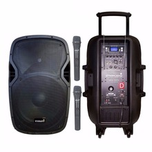 "STARAUDIO SBM-15A Pro PA DJ Stage 15"" Powered Battery Recharge Bluetooth Speaker with 2CH VHF Wireless Microphones(China)"