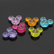 DIY 50pcs 34x27mm Multicolor 3D Solid Mouse Head Acrylic Beads for Jewelry Making DIY Acrylic Beads Spacer(China)
