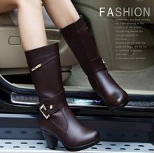 2016 autumn and winter female shoes fashion thick Genuine Leather Women boots winter boots mid calf half knee high boots