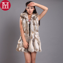 2017 Hot Sale 100% Real Genuine Rabbit Fur Vest Women Long Style Hooded Thick Warm Winter Rabbit Fur Gilet Real Natural Fur Coat