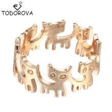 Todorova Gold Silver Connect Cat Ring Cute Fashion Jewelry Animal Ring For Women Young Girl Gifts Anel Wholesale(China)