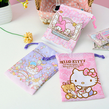 Melody Gemini Tote,Hello Kitty Jewelery Pouch, Cell Phone Pocket, Drawstring Storage Bag, Travel Finishing Bag Storage Bag