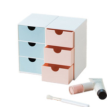 HIPSTEEN Durable 3 Cells Drawer Type Desk Organizer Box Sundries Cosmetics Storage Cabinet