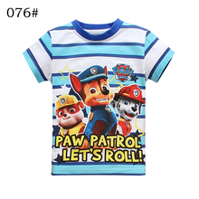 New 2017  girls printing children's cartoon  kids boys child's clothes boy's t shirt patrol  cotton short-sleeved t-shirt