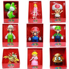 Super Mario Bros toys game Luigi Daisy Peach Toad Yoshi Bowser Huge Goomba Figma naruto PVC action figure Collection Model Doll