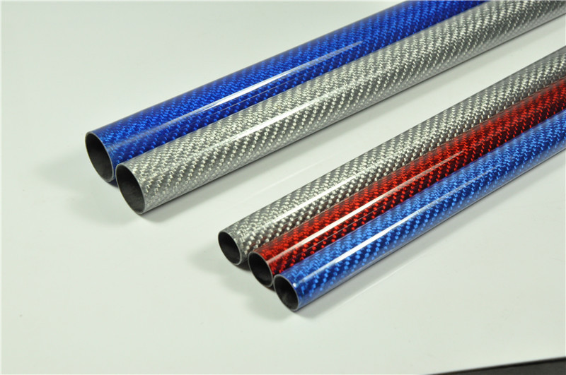 2X Roll Carbon Fiber Tube 23mm*21mm*500mm for RC Airplane 3K Glossy 3 Color Pick(China)