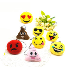 Zoeber Funny emoji cartoon face Anime keychains qq Keyrings Key chains Accessories Soft Round Stuffed Plush smile keychain gift