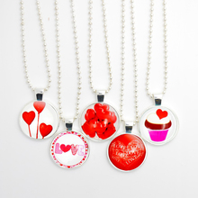 5pcs Sweet Cake Pendant Necklace, Red Heart Stainless Steel Chain Necklace, Glass Cabochon Necklace
